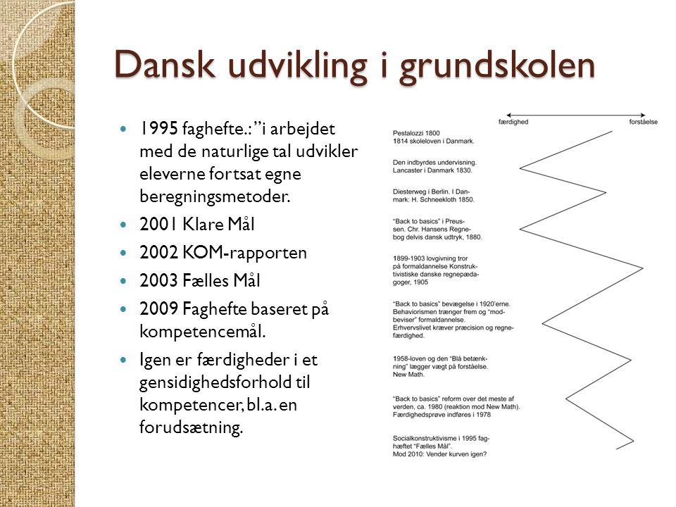 """Dansk udvikling i grundskolen  1995 faghefte.: """"i arbejdet med de naturlige tal udvikler eleverne fortsat egne beregningsmetoder.  2001 Klare Mål """