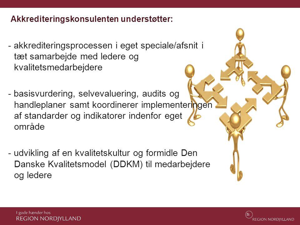Akkrediteringskonsulenten understøtter: - akkrediteringsprocessen i eget speciale/afsnit i tæt samarbejde med ledere og kvalitetsmedarbejdere - basisv