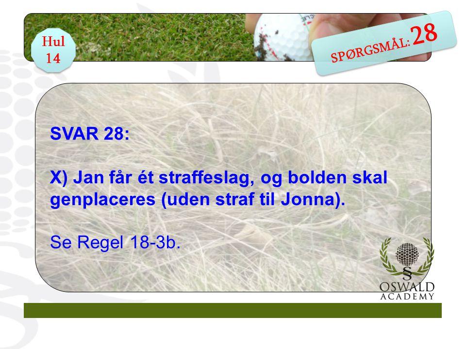 SVAR 28: X) Jan får ét straffeslag, og bolden skal genplaceres (uden straf til Jonna).