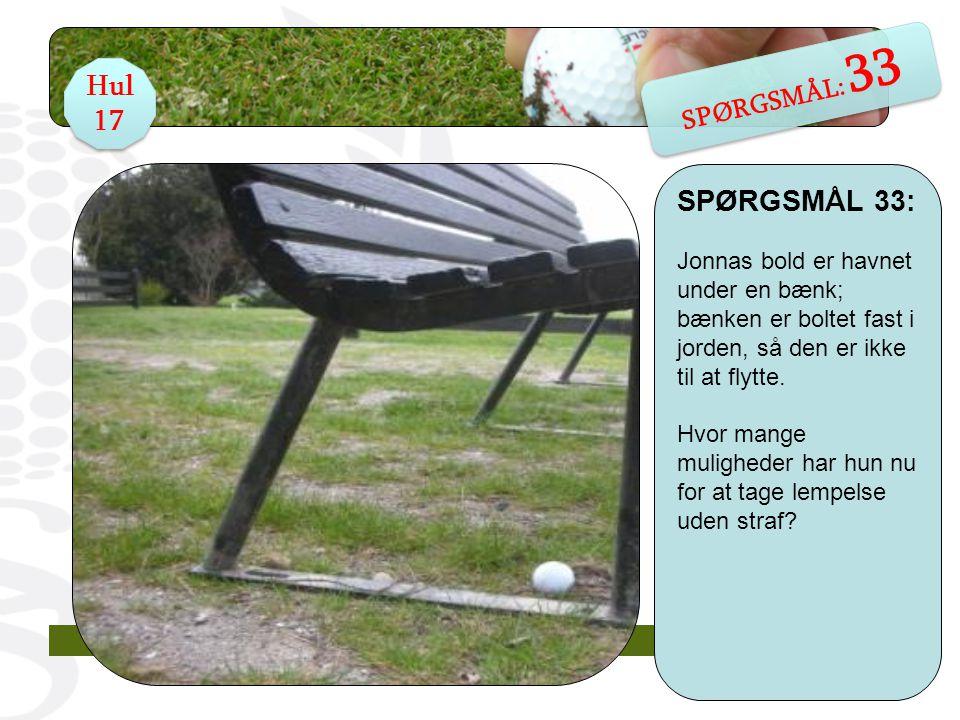 SPØRGSMÅL 33: Jonnas bold er havnet under en bænk; bænken er boltet fast i jorden, så den er ikke til at flytte.
