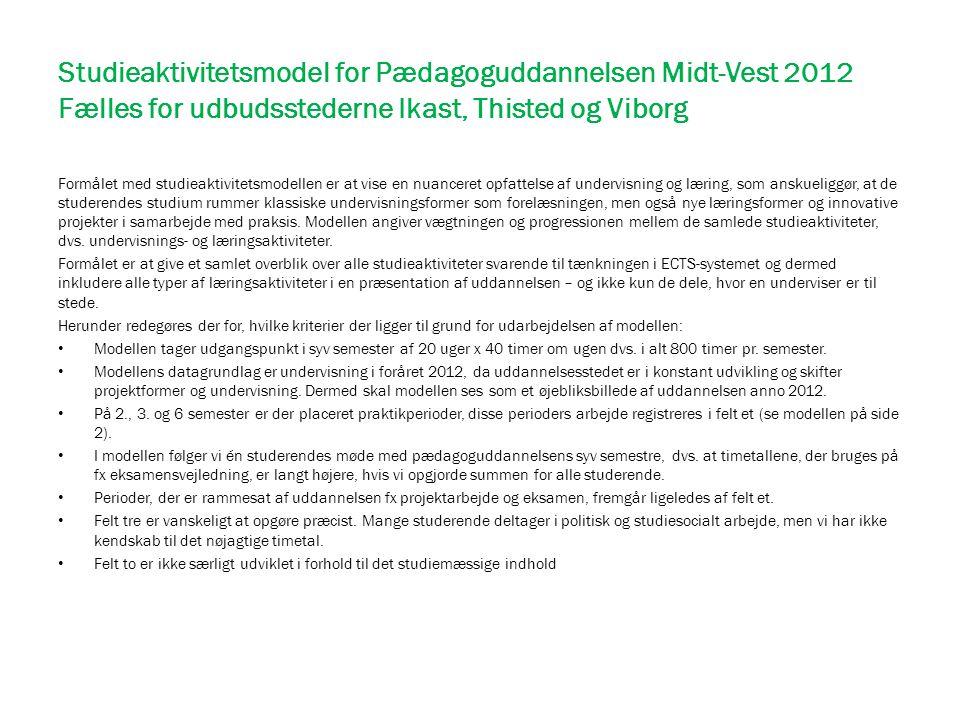 Studieaktivitetsmodel for Pædagoguddannelsen Midt-Vest 2012 Fælles for udbudsstederne Ikast, Thisted og Viborg Formålet med studieaktivitetsmodellen e