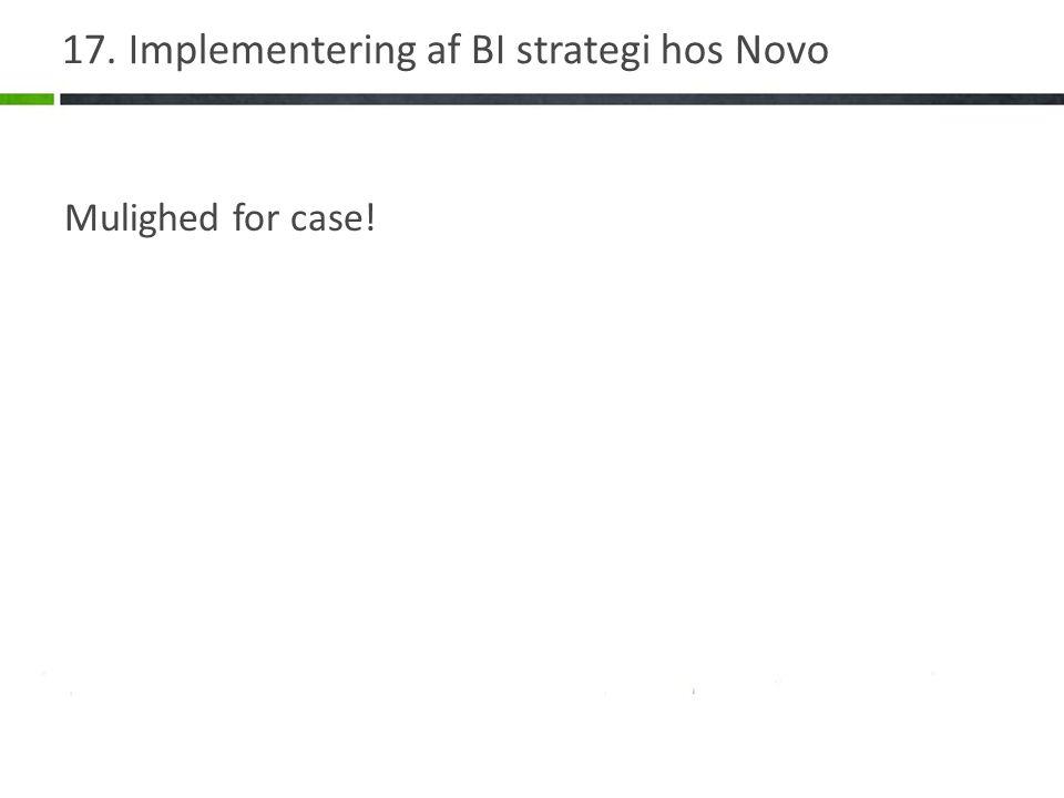 17. Implementering af BI strategi hos Novo Mulighed for case!