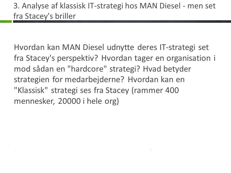 3. Analyse af klassisk IT-strategi hos MAN Diesel - men set fra Stacey's briller Hvordan kan MAN Diesel udnytte deres IT-strategi set fra Stacey's per