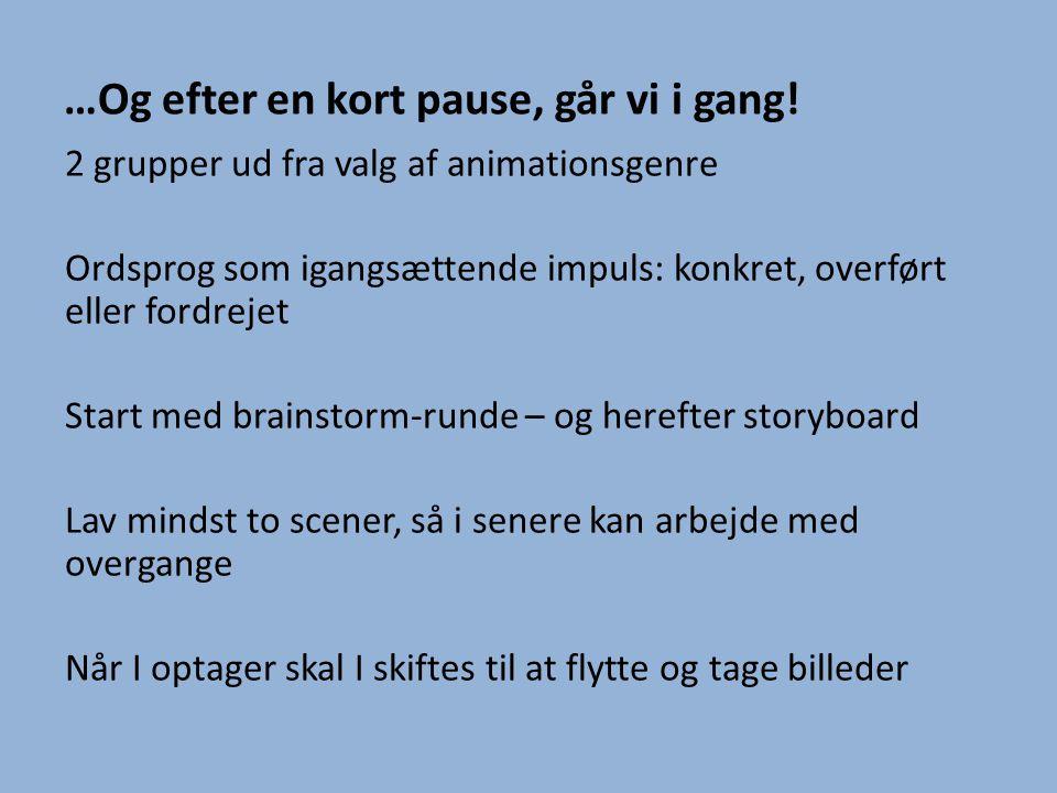 …Og efter en kort pause, går vi i gang! 2 grupper ud fra valg af animationsgenre Ordsprog som igangsættende impuls: konkret, overført eller fordrejet