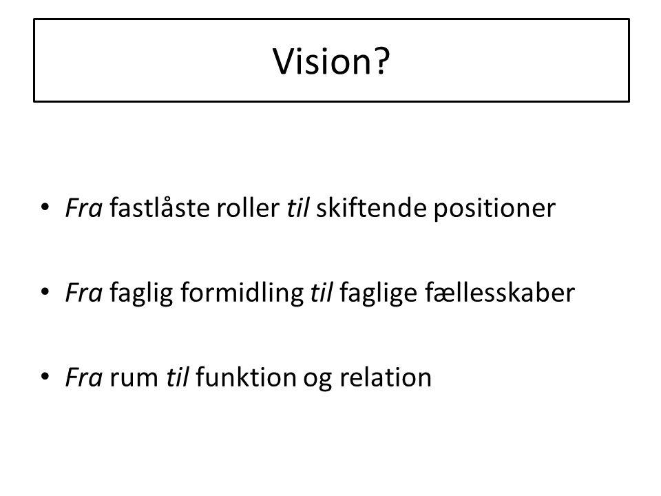 Vision? • Fra fastlåste roller til skiftende positioner • Fra faglig formidling til faglige fællesskaber • Fra rum til funktion og relation