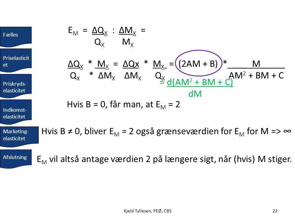 Kjeld Tyllesen, PEØ, CBS22Kjeld Tyllesen, PEØ, CBS22 Hvis B = 0, får man, at E M = 2 ΔQ X * M X = ΔQx * M X = (2AM + B) *_____M_____ Q X * ΔM X ΔM X Q X AM 2 + BM + C Priskryds- elasticitet Priselasticit et Fælles E M = ΔQ X : ΔM X = Q X M X Indkomst- elasticitet Afslutning Marketing- elasticitet = d(AM 2 + BM + C) dM Hvis B ≠ 0, bliver E M = 2 også grænseværdien for E M for M => ∞ E M vil altså antage værdien 2 på længere sigt, når (hvis) M stiger.
