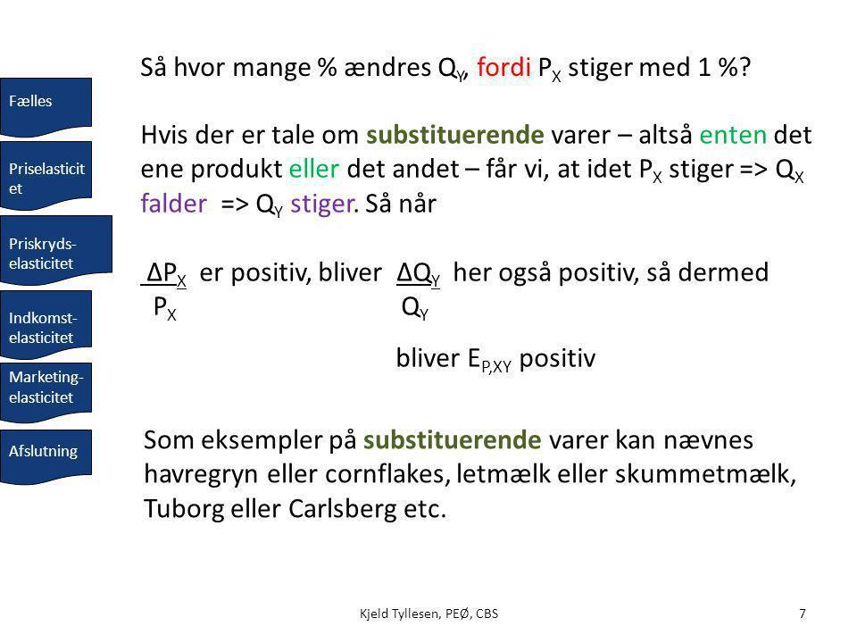 8Kjeld Tyllesen, PEØ, CBS Komplementære varer (både og): Hvis P X stiger, falder Q X, og Q Y falder ligeledes.
