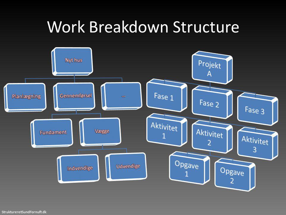 StruktureretSundFornuft.dk Work Breakdown Structure
