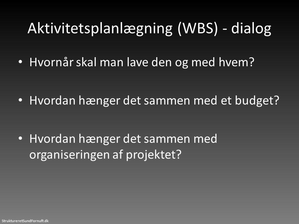 StruktureretSundFornuft.dk Aktivitetsplanlægning (WBS) - dialog • Hvornår skal man lave den og med hvem? • Hvordan hænger det sammen med et budget? •