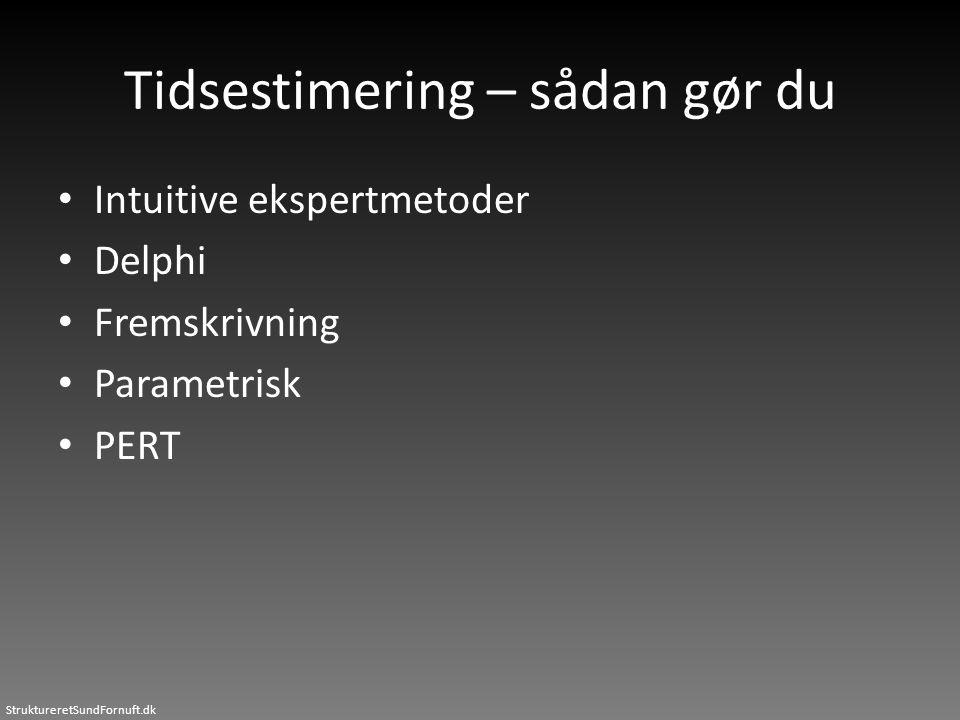 StruktureretSundFornuft.dk Tidsestimering – sådan gør du • Intuitive ekspertmetoder • Delphi • Fremskrivning • Parametrisk • PERT