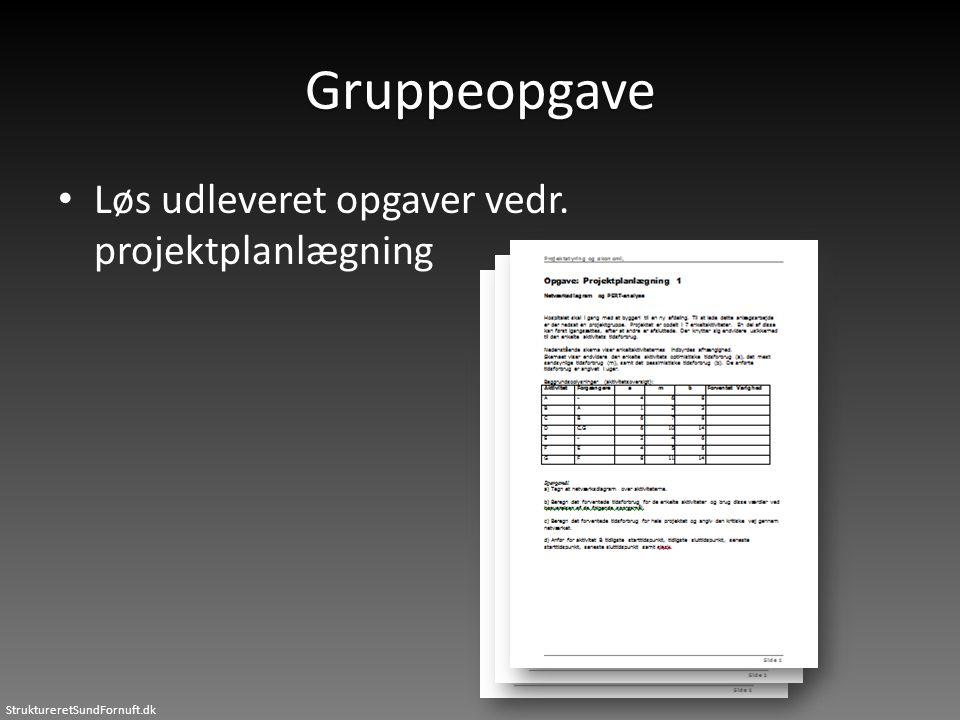 StruktureretSundFornuft.dk Gruppeopgave • Løs udleveret opgaver vedr. projektplanlægning