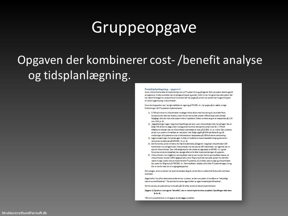 StruktureretSundFornuft.dk Gruppeopgave Opgaven der kombinerer cost- /benefit analyse og tidsplanlægning.