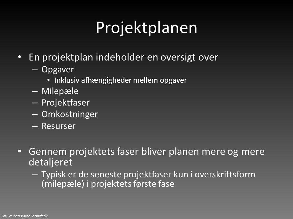 Projektplanen • En projektplan indeholder en oversigt over – Opgaver • Inklusiv afhængigheder mellem opgaver – Milepæle – Projektfaser – Omkostninger