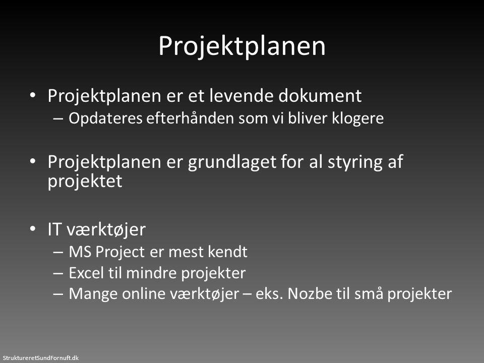 StruktureretSundFornuft.dk Projektplanen • Projektplanen er et levende dokument – Opdateres efterhånden som vi bliver klogere • Projektplanen er grund