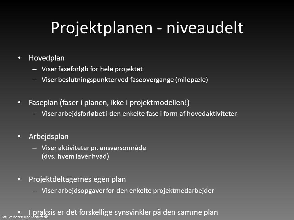 StruktureretSundFornuft.dk Projektplanen - niveaudelt • Hovedplan – Viser faseforløb for hele projektet – Viser beslutningspunkter ved faseovergange (