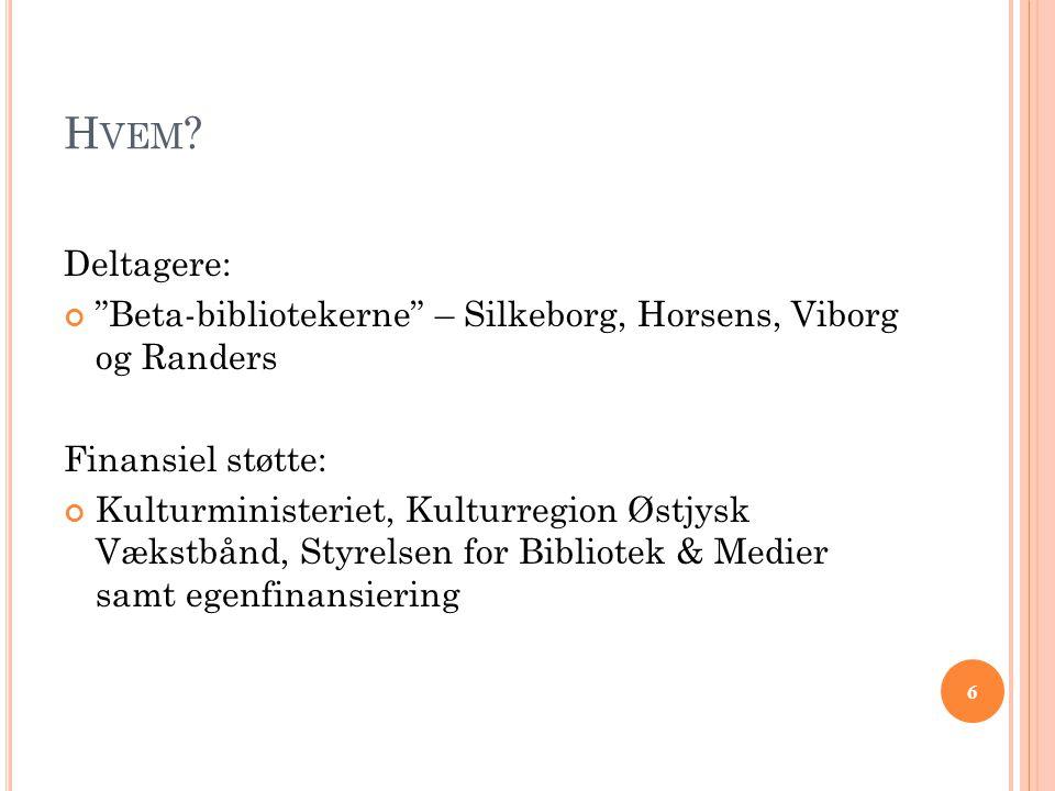 """6 H VEM ? Deltagere: """"Beta-bibliotekerne"""" – Silkeborg, Horsens, Viborg og Randers Finansiel støtte: Kulturministeriet, Kulturregion Østjysk Vækstbånd,"""