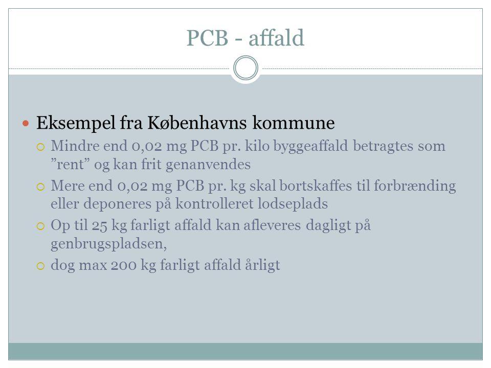 """PCB - affald  Eksempel fra Københavns kommune  Mindre end 0,02 mg PCB pr. kilo byggeaffald betragtes som """"rent"""" og kan frit genanvendes  Mere end 0"""