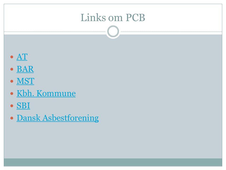 Links om PCB  AT AT  BAR BAR  MST MST  Kbh. Kommune Kbh. Kommune  SBI SBI  Dansk Asbestforening Dansk Asbestforening