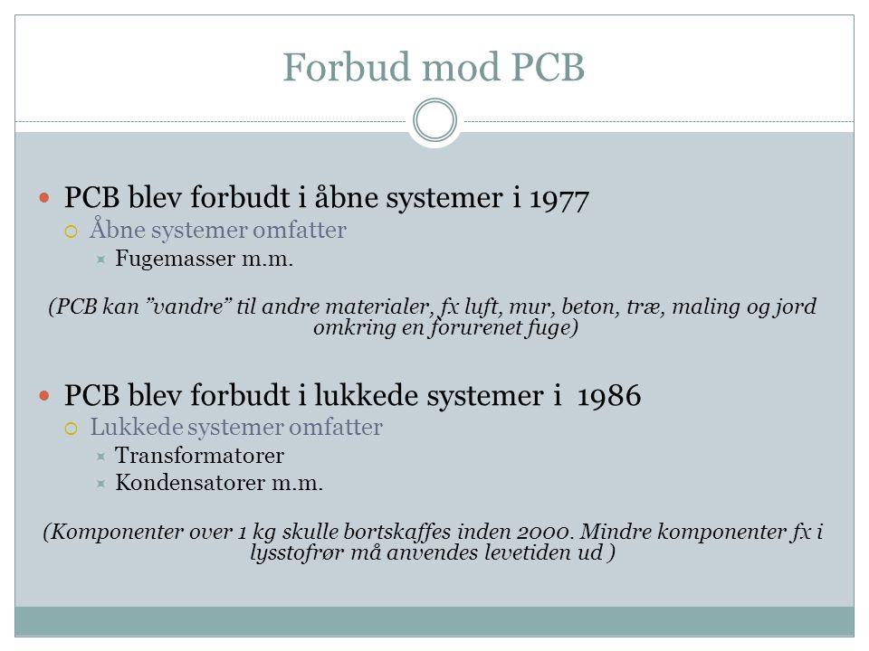 """Forbud mod PCB  PCB blev forbudt i åbne systemer i 1977  Åbne systemer omfatter  Fugemasser m.m. (PCB kan """"vandre"""" til andre materialer, fx luft, m"""