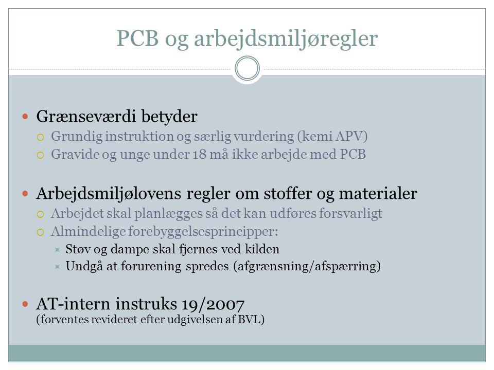 PCB og arbejdsmiljøregler  Grænseværdi betyder  Grundig instruktion og særlig vurdering (kemi APV)  Gravide og unge under 18 må ikke arbejde med PC