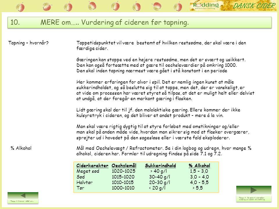 10. MERE om….. Vurdering af cideren før tapning. Tilbage til Indhold i MERE om….. Tilbage til Indhold i MERE om….. Ciderkarakter Oechslemål Sukkerindh