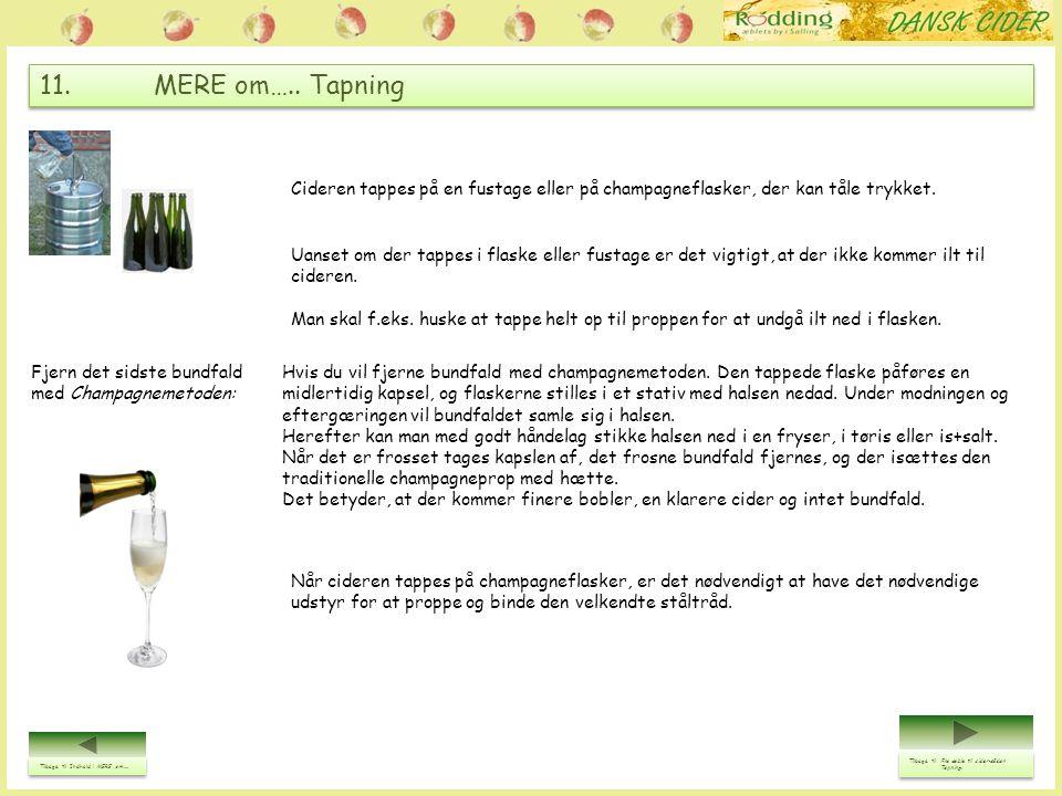 11. MERE om….. Tapning Tilbage til Indhold i MERE om….. Tilbage til Indhold i MERE om….. Cideren tappes på en fustage eller på champagneflasker, der k