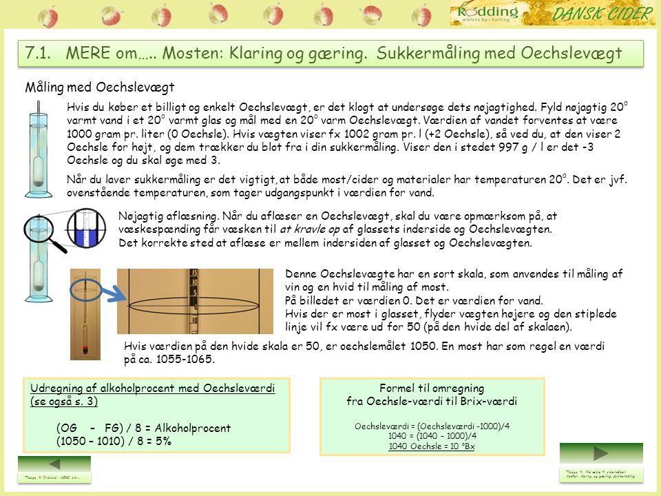 7.2.MERE om….. Mosten: Klaring og gæring. Sukkermåling med Refraktometer.