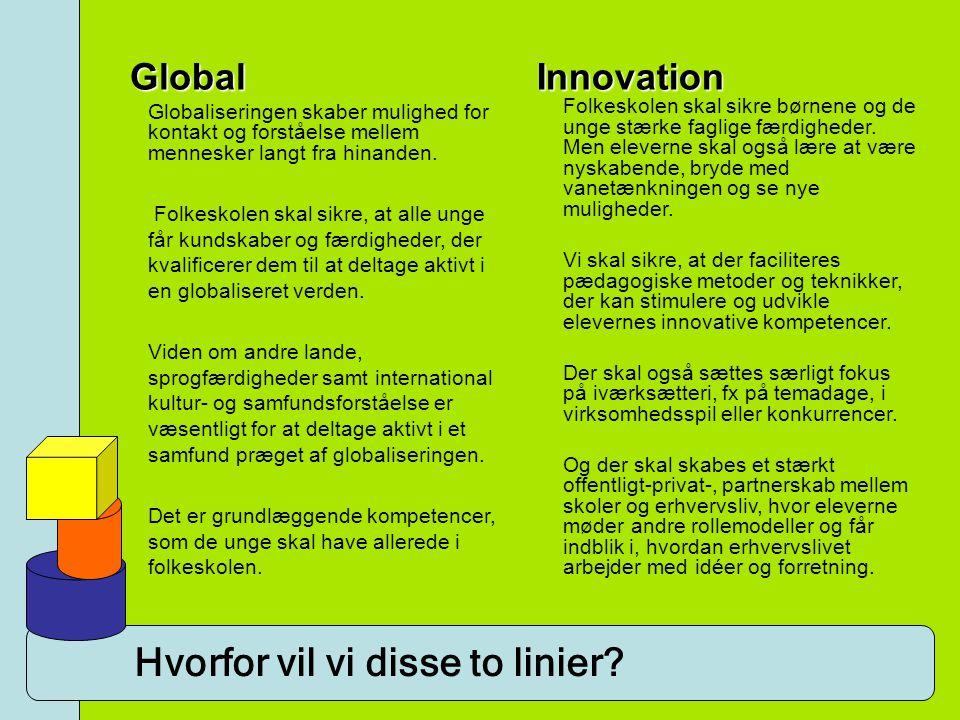 Hvorfor vil vi disse to linier? Global Globaliseringen skaber mulighed for kontakt og forståelse mellem mennesker langt fra hinanden. Folkeskolen skal