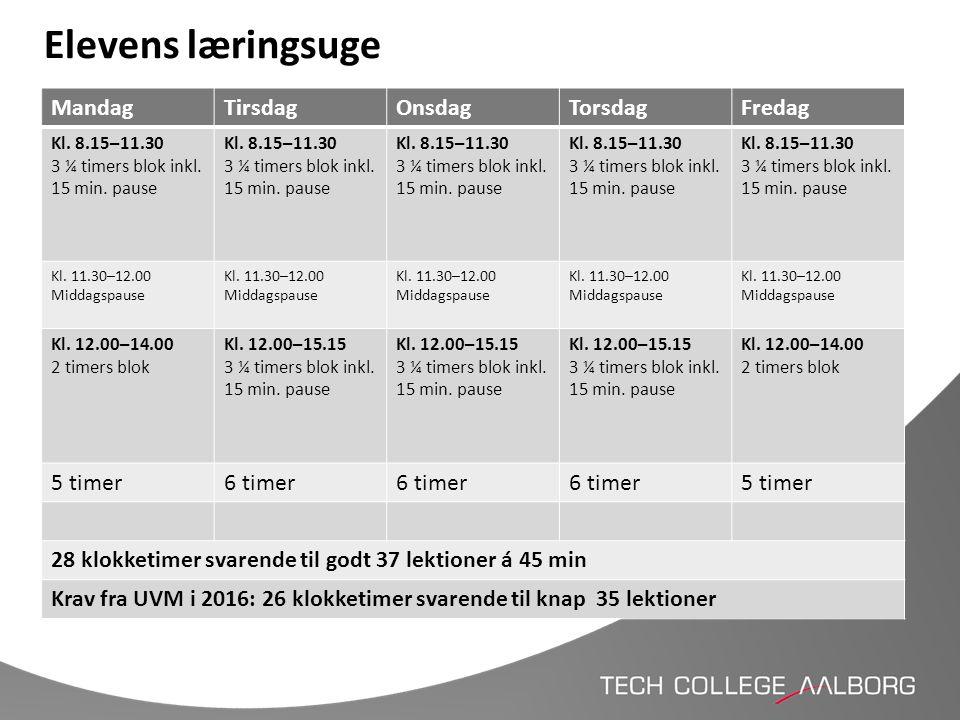 Elevens læringsuge MandagTirsdagOnsdagTorsdagFredag Kl. 8.15–11.30 3 ¼ timers blok inkl. 15 min. pause Kl. 8.15–11.30 3 ¼ timers blok inkl. 15 min. pa