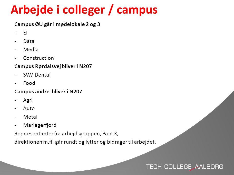 Arbejde i colleger / campus Campus ØU går i mødelokale 2 og 3 -El -Data -Media -Construction Campus Rørdalsvej bliver i N207 -SW/ Dental -Food Campus