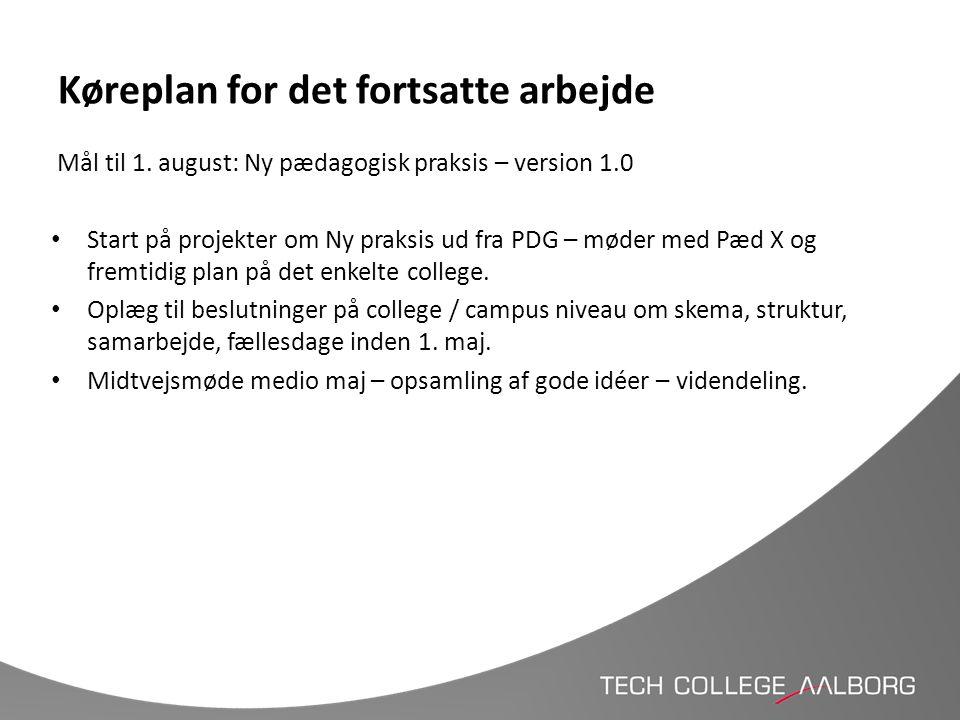 Køreplan for det fortsatte arbejde Mål til 1. august: Ny pædagogisk praksis – version 1.0 • Start på projekter om Ny praksis ud fra PDG – møder med Pæ