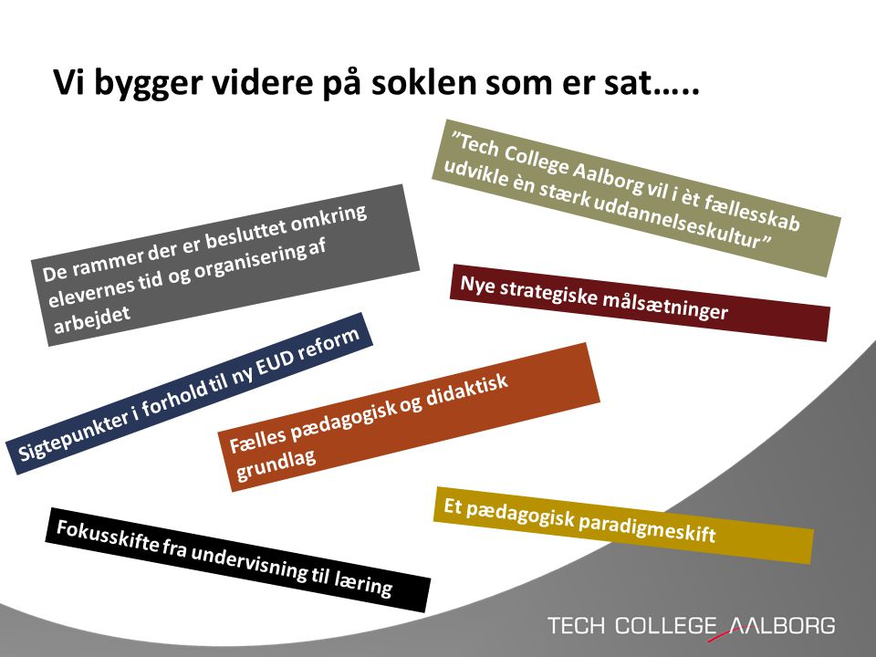"""Vi bygger videre på soklen som er sat….. De rammer der er besluttet omkring elevernes tid og organisering af arbejdet """"Tech College Aalborg vil i èt f"""