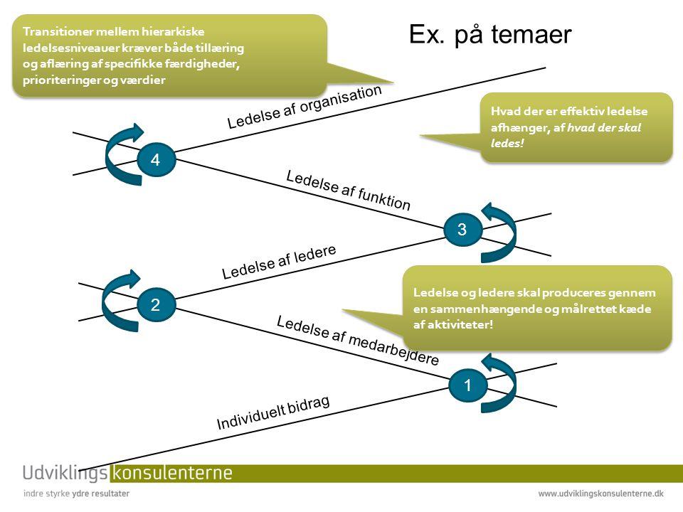1 4 2 3 Individuelt bidrag Ledelse af organisation Ledelse af ledere Ledelse af medarbejdere Ledelse af funktion Hvad der er effektiv ledelse afhænger, af hvad der skal ledes.