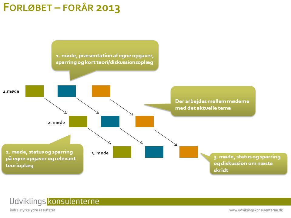 F ORLØBET – FORÅR 2013 1.møde 2.møde 3. møde Der arbejdes mellem møderne med det aktuelle tema 1.