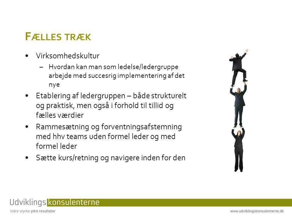 F ÆLLES TRÆK •Virksomhedskultur –Hvordan kan man som ledelse/ledergruppe arbejde med succesrig implementering af det nye •Etablering af ledergruppen – både strukturelt og praktisk, men også i forhold til tillid og fælles værdier •Rammesætning og forventningsafstemning med hhv teams uden formel leder og med formel leder •Sætte kurs/retning og navigere inden for den