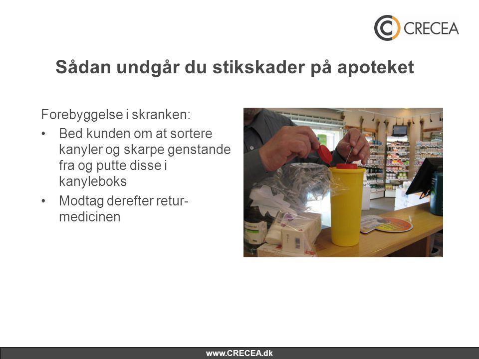 www.CRECEA.dk Sådan undgår du stikskader på apoteket Forebyggelse i skranken: •Bed kunden om at sortere kanyler og skarpe genstande fra og putte disse i kanyleboks •Modtag derefter retur- medicinen