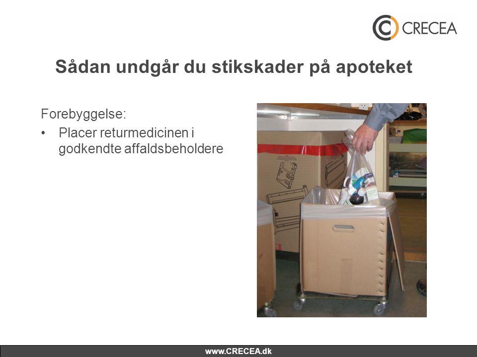 www.CRECEA.dk Sådan undgår du stikskader på apoteket Forebyggelse: •Placer returmedicinen i godkendte affaldsbeholdere