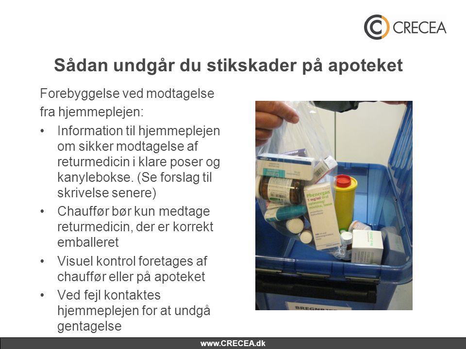 www.CRECEA.dk Sådan undgår du stikskader på apoteket Forebyggelse ved modtagelse fra hjemmeplejen: •Information til hjemmeplejen om sikker modtagelse af returmedicin i klare poser og kanylebokse.