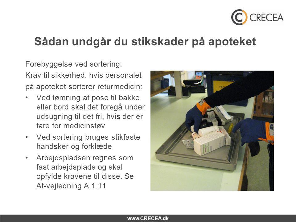 www.CRECEA.dk Sådan undgår du stikskader på apoteket Forebyggelse ved sortering: Krav til sikkerhed, hvis personalet på apoteket sorterer returmedicin