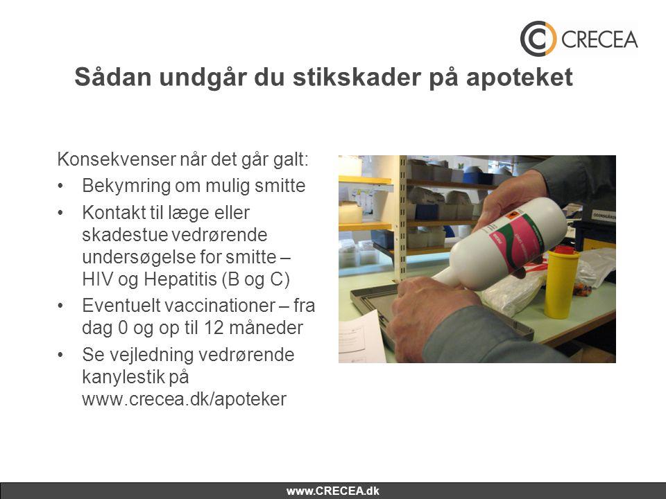 www.CRECEA.dk Sådan undgår du stikskader på apoteket Konsekvenser når det går galt: •Bekymring om mulig smitte •Kontakt til læge eller skadestue vedrørende undersøgelse for smitte – HIV og Hepatitis (B og C) •Eventuelt vaccinationer – fra dag 0 og op til 12 måneder •Se vejledning vedrørende kanylestik på www.crecea.dk/apoteker