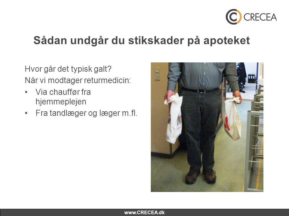 www.CRECEA.dk Sådan undgår du stikskader på apoteket Hvor går det typisk galt? Når vi modtager returmedicin: •Via chauffør fra hjemmeplejen •Fra tandl