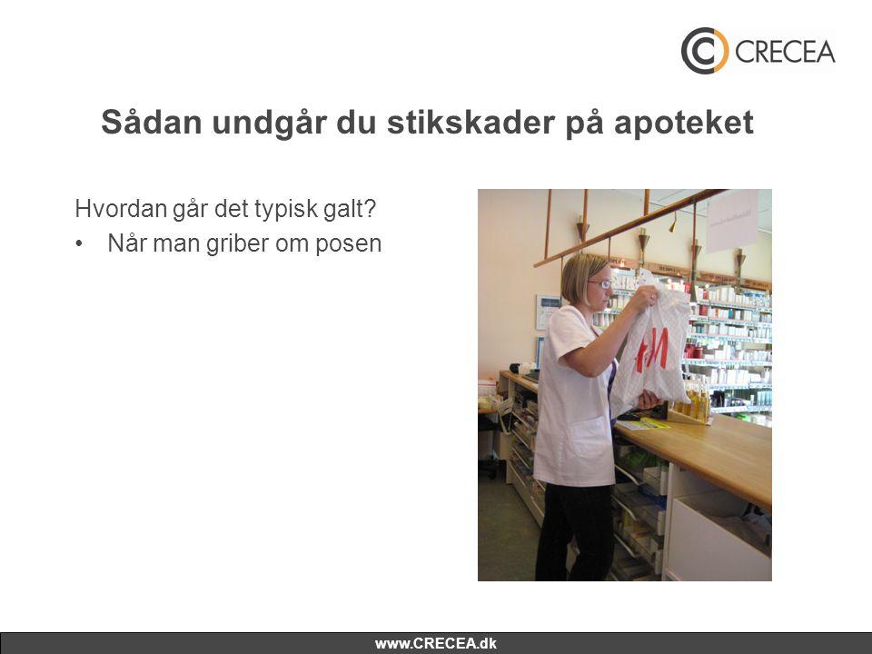 www.CRECEA.dk Sådan undgår du stikskader på apoteket Hvordan går det typisk galt? •Når man griber om posen