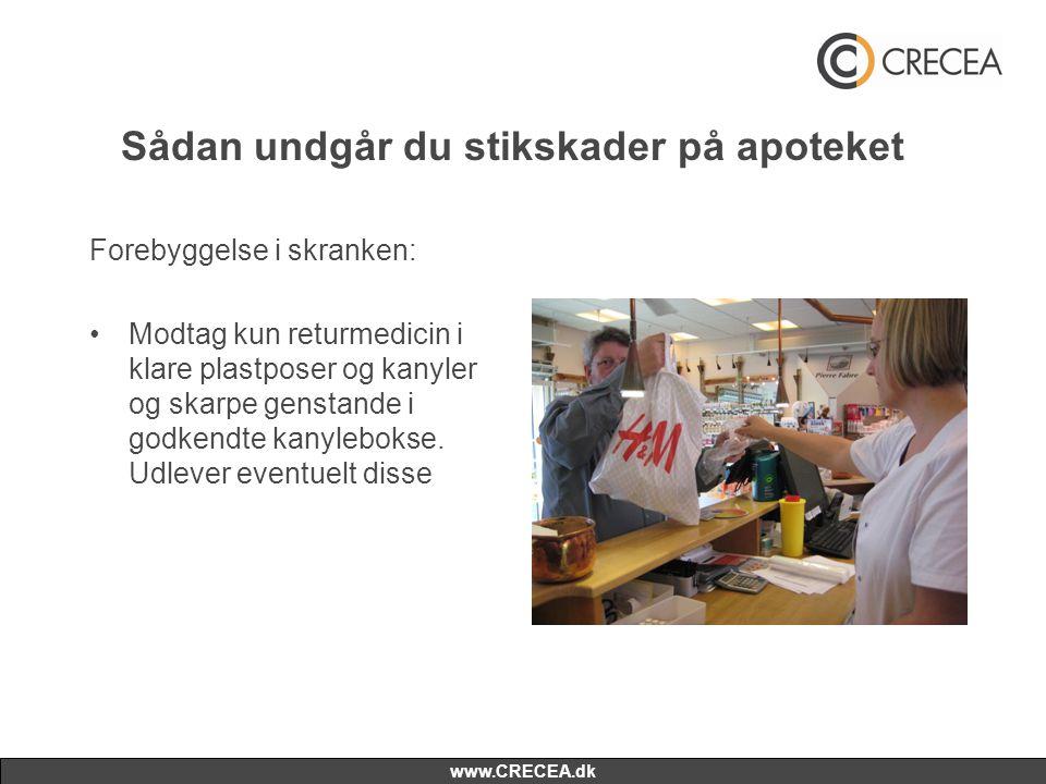 www.CRECEA.dk Sådan undgår du stikskader på apoteket Forebyggelse i skranken: •Modtag kun returmedicin i klare plastposer og kanyler og skarpe genstande i godkendte kanylebokse.