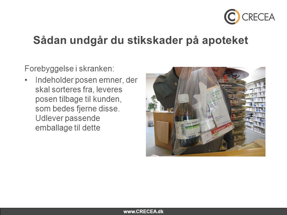 www.CRECEA.dk Sådan undgår du stikskader på apoteket Forebyggelse i skranken: •Indeholder posen emner, der skal sorteres fra, leveres posen tilbage ti