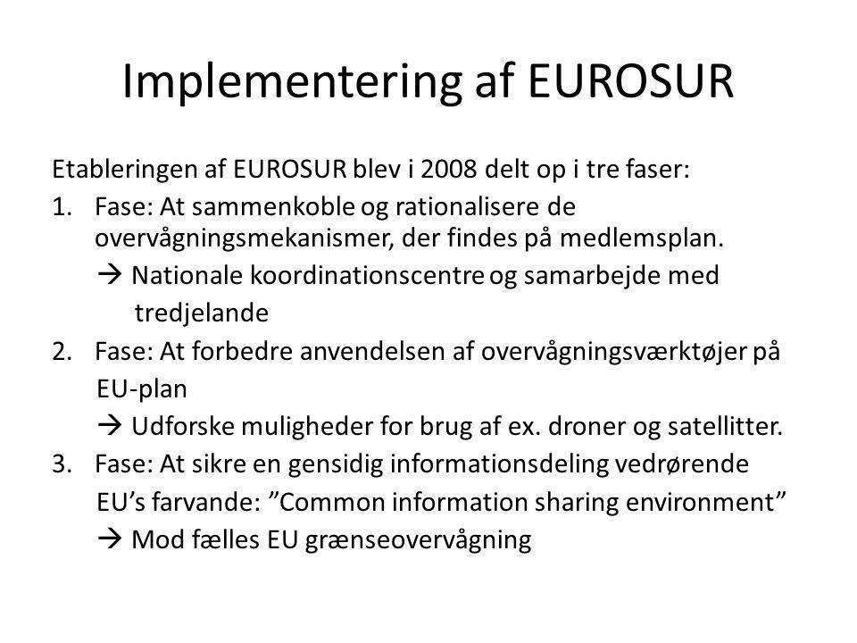 Implementering af EUROSUR Etableringen af EUROSUR blev i 2008 delt op i tre faser: 1.Fase: At sammenkoble og rationalisere de overvågningsmekanismer, der findes på medlemsplan.