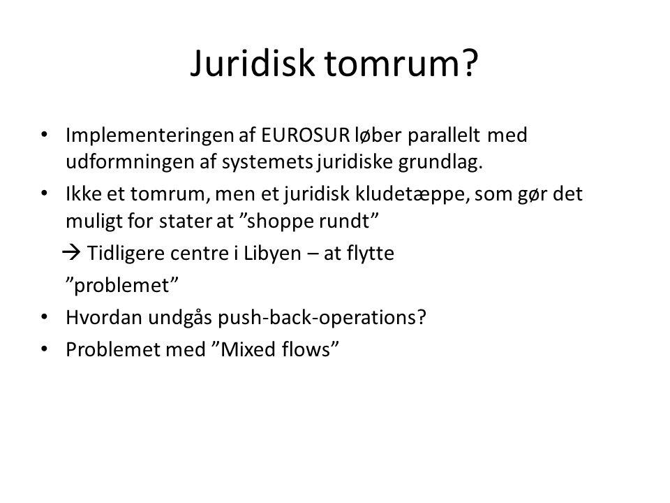 Juridisk tomrum? • Implementeringen af EUROSUR løber parallelt med udformningen af systemets juridiske grundlag. • Ikke et tomrum, men et juridisk klu