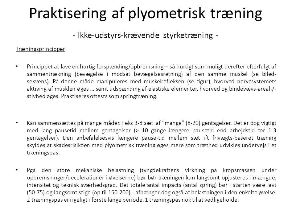 Eksempel på plyometrisk træningsprogram - også anvendeligt for uøvede - Animationer/øvelses-beskrivelser af plyometriske øvelser kan findes alverdens steder på nettet – feks her: http://www.sport-fitness-advisor.com/plyometricexercises.htmlhttp://www.sport-fitness-advisor.com/plyometricexercises.html