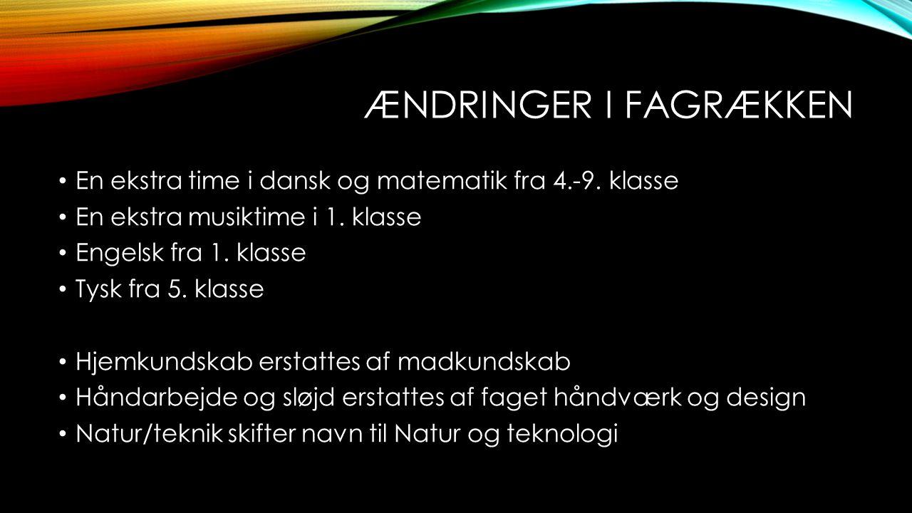 ÆNDRINGER I FAGRÆKKEN • En ekstra time i dansk og matematik fra 4.-9. klasse • En ekstra musiktime i 1. klasse • Engelsk fra 1. klasse • Tysk fra 5. k