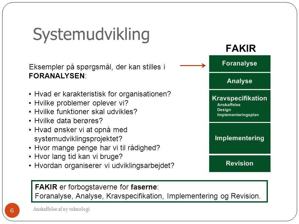 Systemudvikling FAKIR er forbogstaverne for faserne: Foranalyse, Analyse, Kravspecifikation, Implementering og Revision. Eksempler på spørgsmål, der k