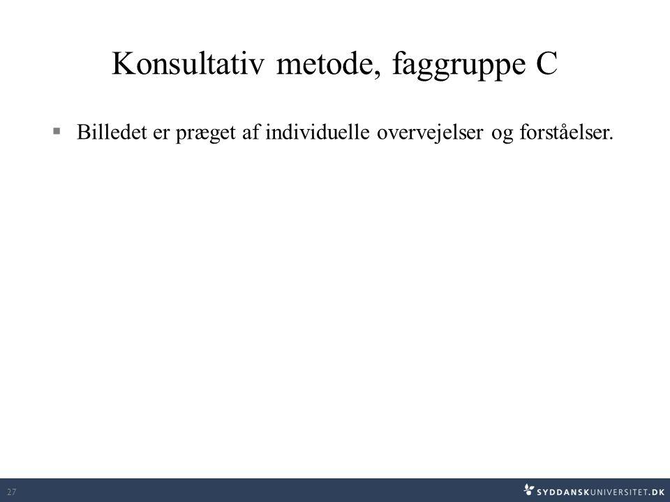 Konsultativ metode, faggruppe C  Billedet er præget af individuelle overvejelser og forståelser. 27